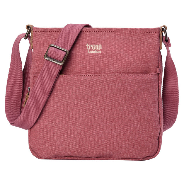 Troop London: Classic Small Zip Top Shoulder Bag - Pink