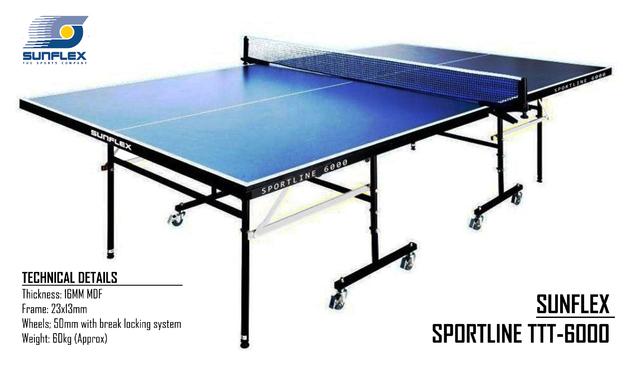 Sunflex Sportline 6000 Table Tennis - Table & Set (4 Bats/6 Balls)