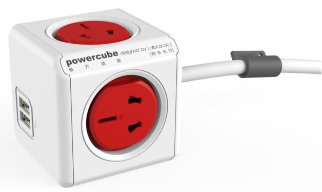 allocacoc PowerCube Extended USB 3m - 4 Outlets, 2 USB