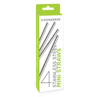 4pk Stainless Steel Straws - Mini Size image