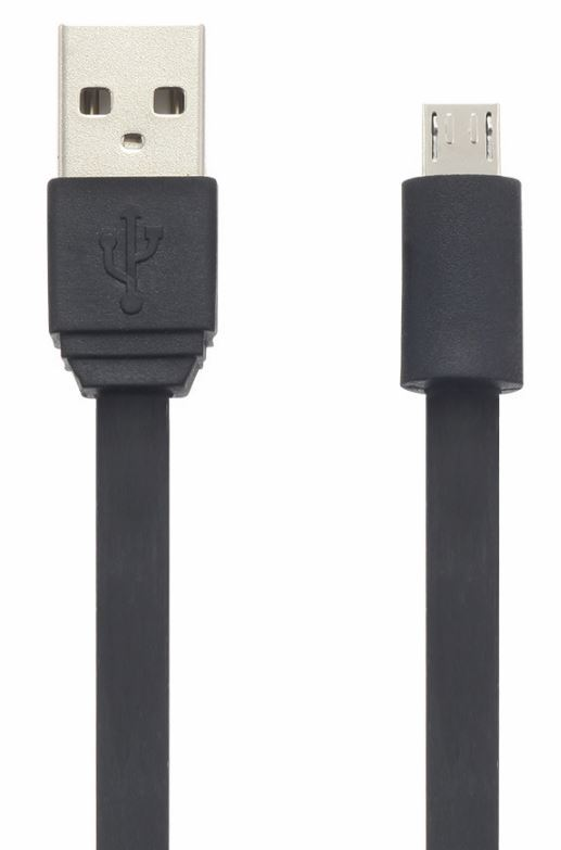 Moki Flat Cable Micro-USB SynCharge Cable - Black 10cm