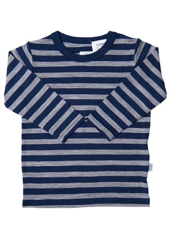 Babu: Merino Crew Neck Long Sleeve T-Shirt - Navy Stripe (1 Year)