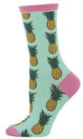 Socksmith: Women's Pineapple Crew Socks - Winter Green