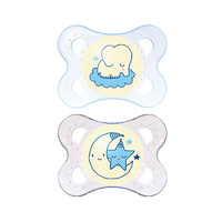 MAM Night Silicone Soother 0-4 Months - 2 Pack (Blue)