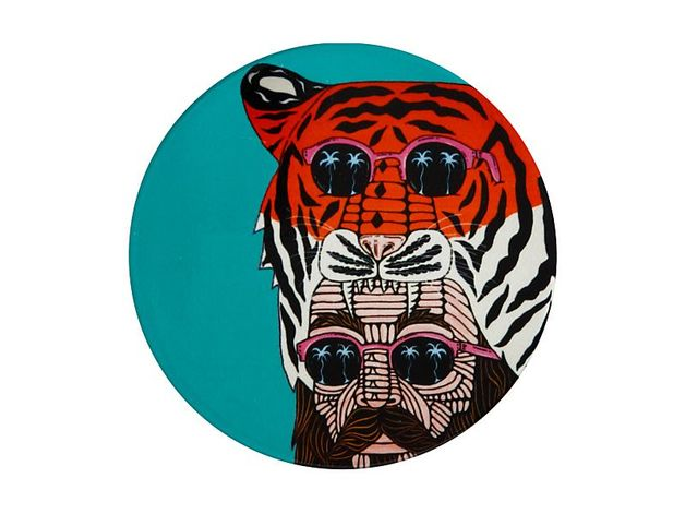 Maxwell & Williams: Mulga the Artist Ceramic Round Coaster - Tiger Man