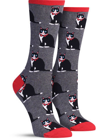 Socksmith: Womens Tuxedo Cats Socks - Grey