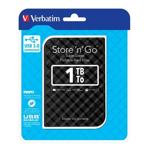 "Verbatim 2.5"" Store'n'Go USB 3.0 - 1TB (Black Grid Design)"
