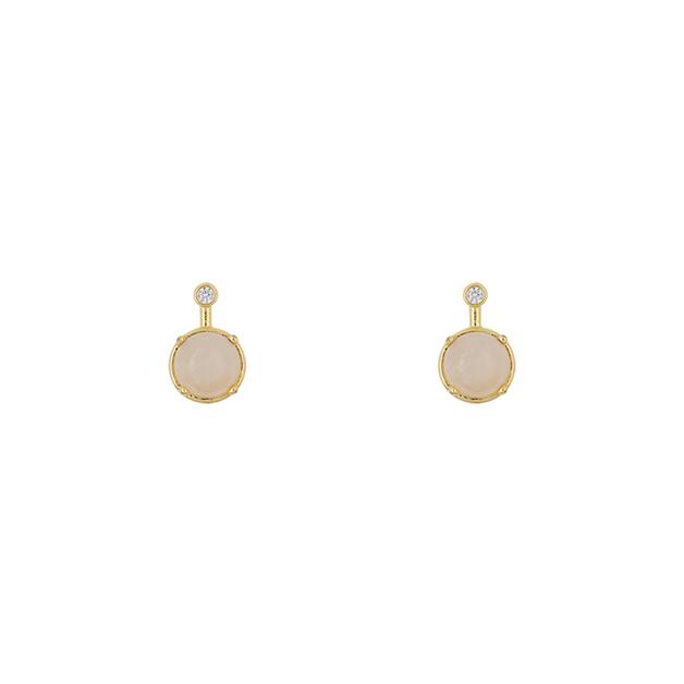 Short Story: Earring Simple Drop Rosequartz Gold