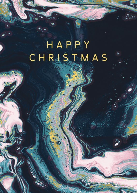 Hammond Gower: Happy Xmas (Black Marbled) - Greeting Card
