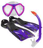 Land And Sea: Nipper Mask/Snorkel/Fin Set - Junior Size 8-12 (Pink/Purple)