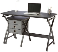 Brenton X Cross Desk & Filing Unit - Black