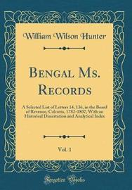 Bengal Ms. Records, Vol. 1 by William Wilson Hunter image