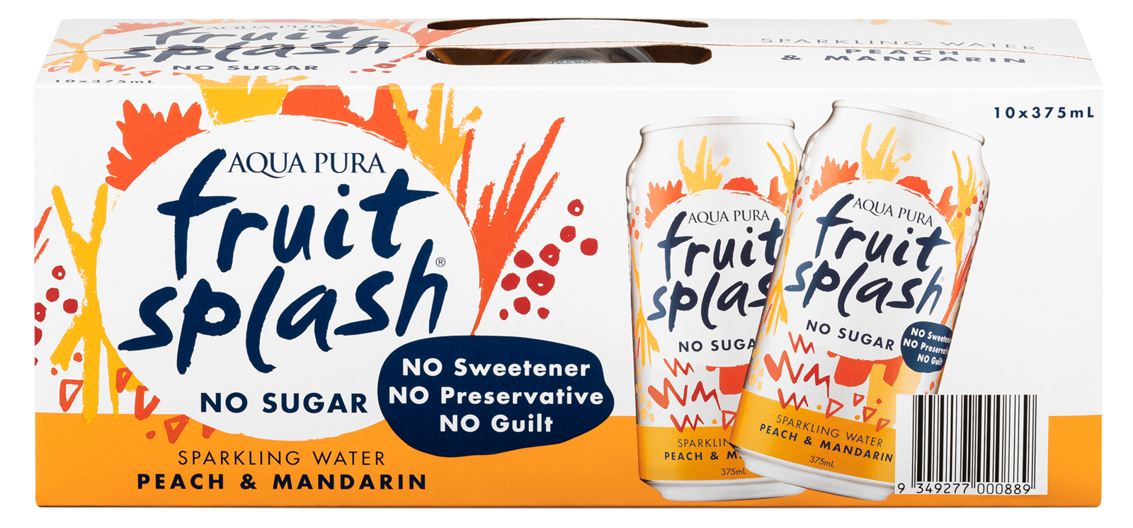 Aqua Pura Fruit Splash Peach & Mandarin 375ml (10 Pack) image