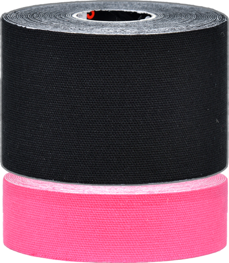 d3 K6.0 Twin Pack Strapping Tape 50mm+25mmx6M (Black/Pink)