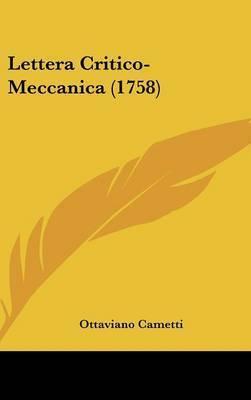 Lettera Critico-Meccanica (1758) by Ottaviano Cametti