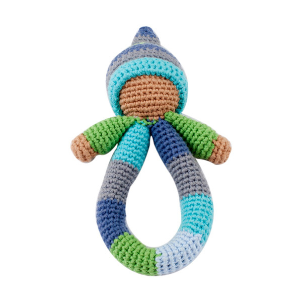 Pebble: Pixie Ring Rattle - Blue