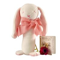 Maud n Lil: Rose the Bunny Organic Stick Rattle - White/Pink