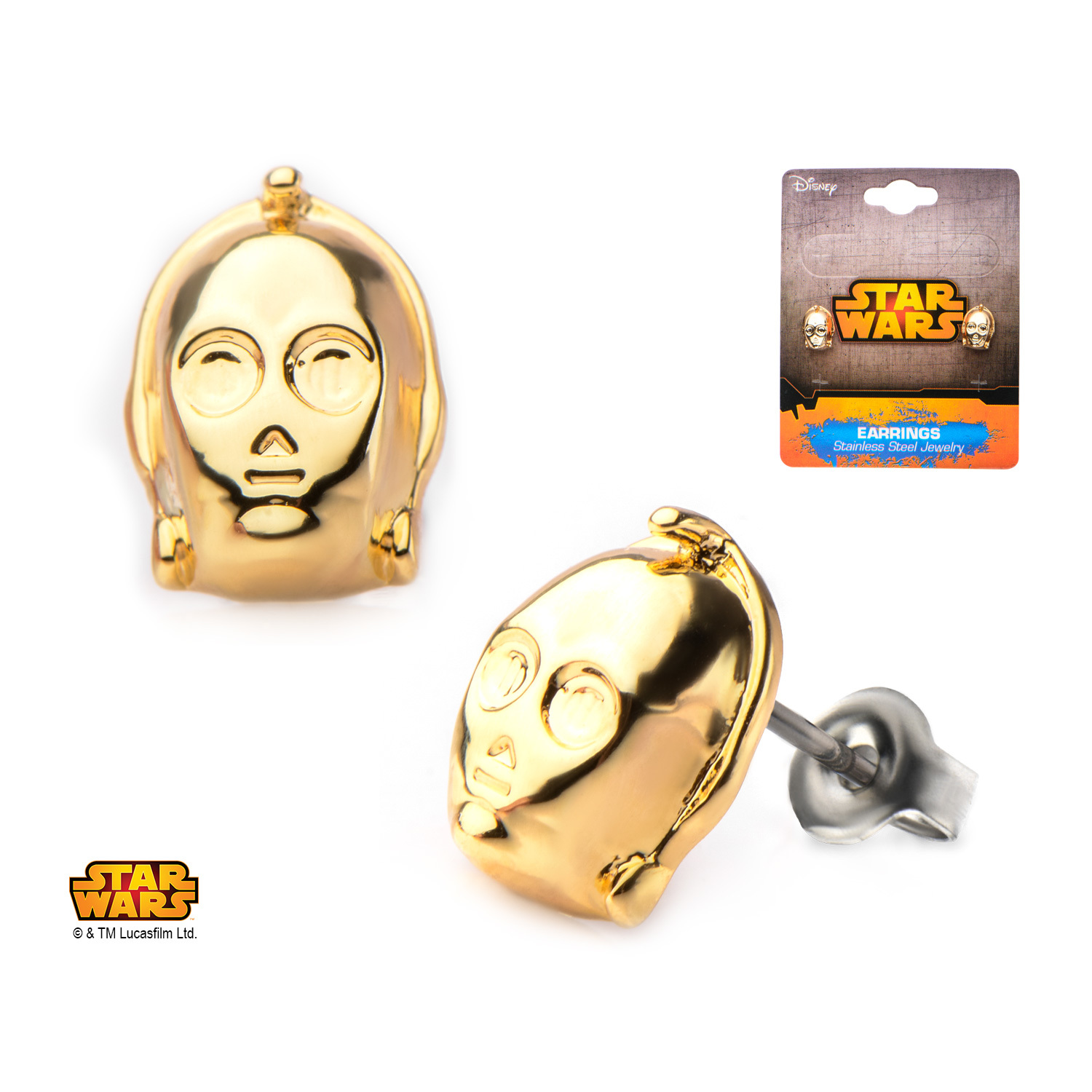Star Wars C-3PO Gold Plated 3-D Stud Earrings image
