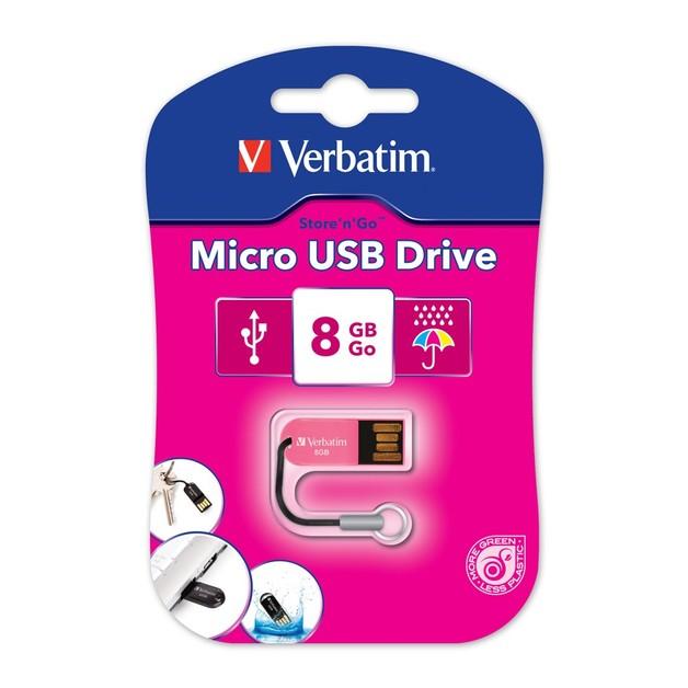 Verbatim Store'n'Go Micro USB Drive - 8GB (Hot Pink)