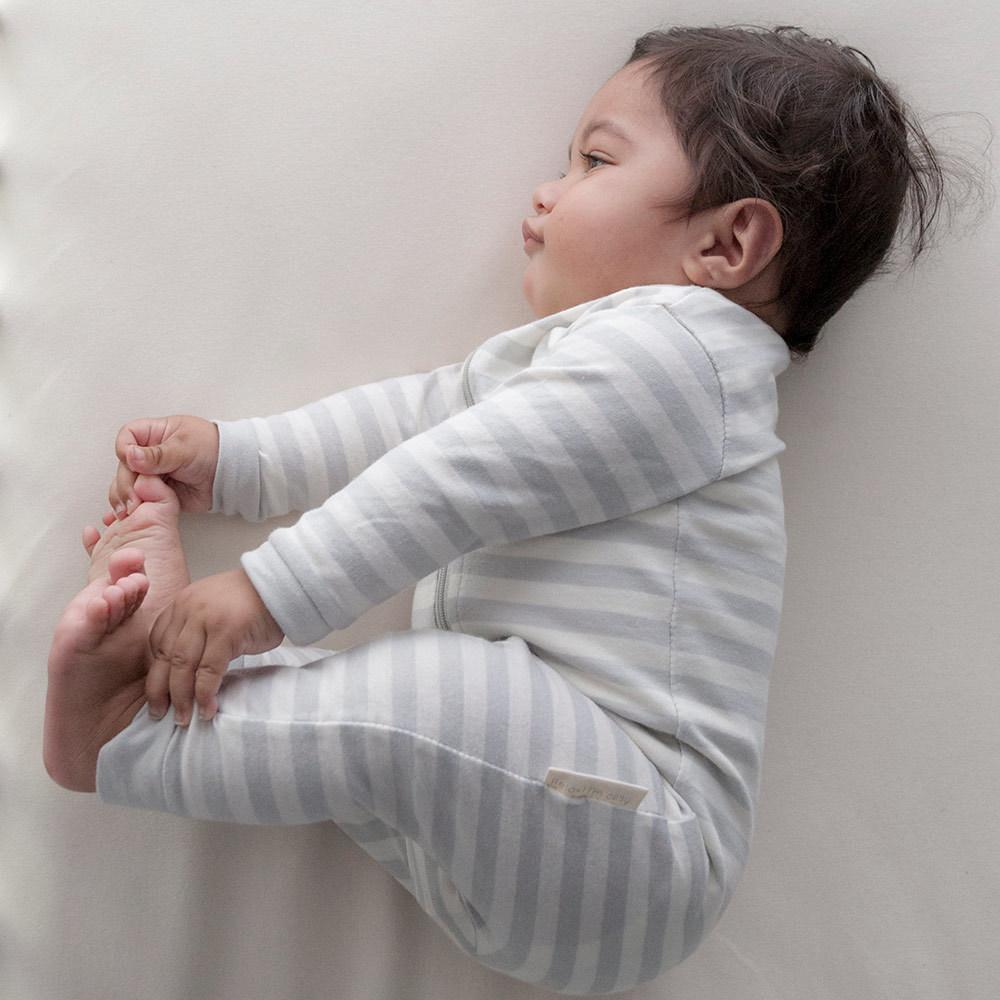 Woolbabe Merino/Organic Cotton Sleepsuit - Pebble (6-12 Months) image