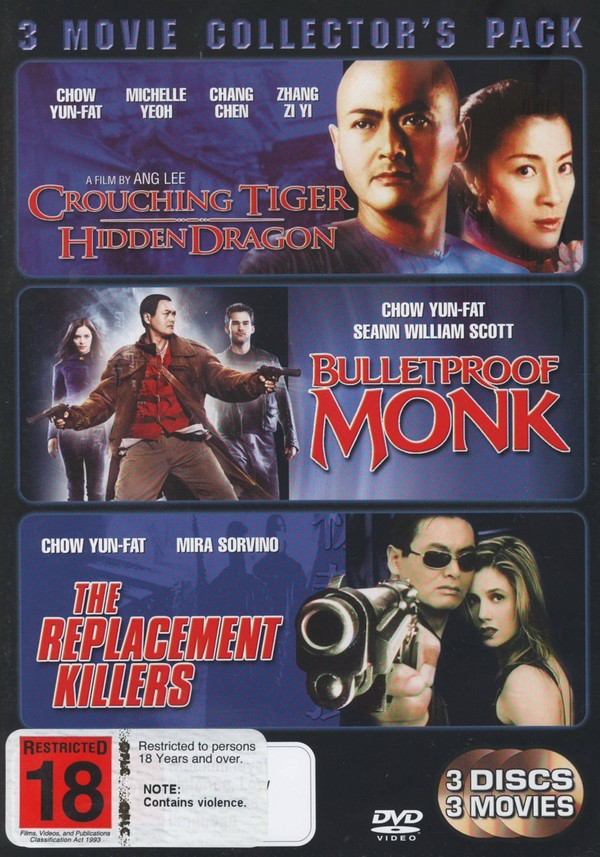 Crouching Tiger Hidden Dragon / Bulletproof Monk / The Replacement Killers - 3 Movie Collector's Pack (3 Disc Set) on DVD image
