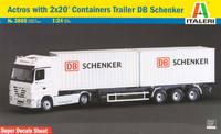 Italeri Actros with 2x20' Container Trailer Schenker 1:24 Model Kit