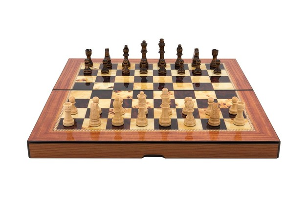 Dal Rossi Walnut Gloss Finish Folding Chess Set - 40cm
