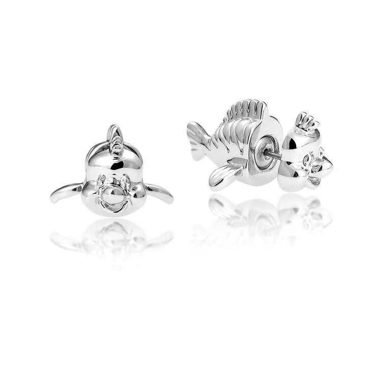 Couture Kingdom: Disney Princess Ariel Flounder Stud Earrings - White Gold image