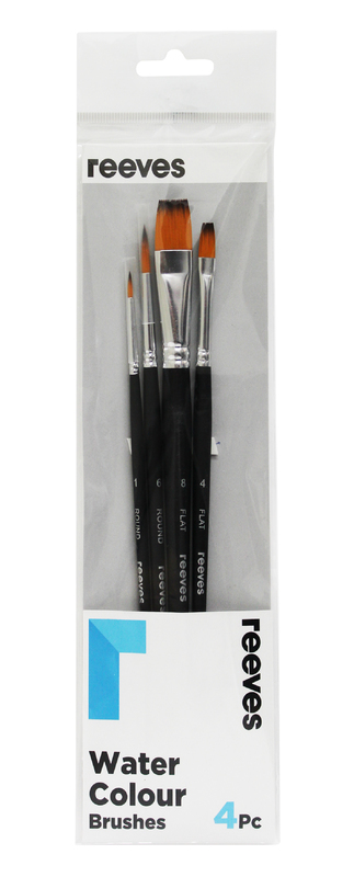 Reeves: Watercolour Brush Golden Synthetic Short Handle - Pack 4