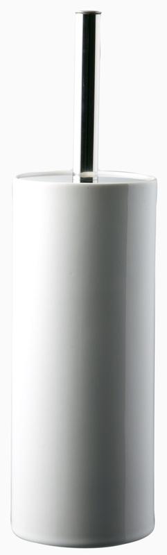 Urban Lines Ceramic Stoneware Toilet Brush Holder - White