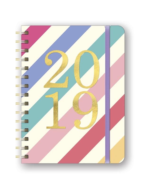 Deluxe Rainbow Stripes Flexi 2019 A5 Diary