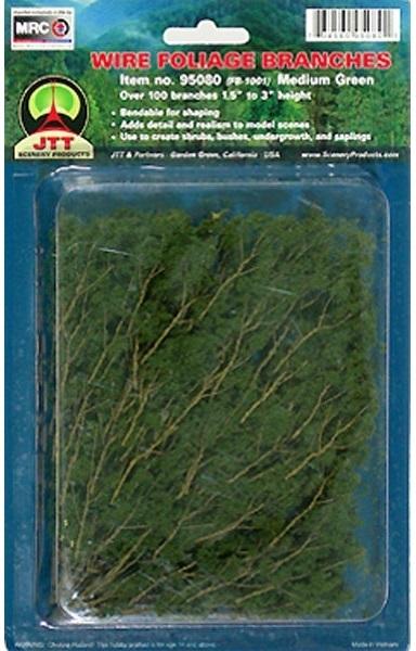 JTT: Wire Foliage Branches - Medium Green (60 Pack)