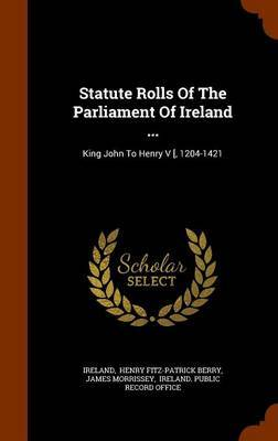 Statute Rolls of the Parliament of Ireland ... by James Morrissey image