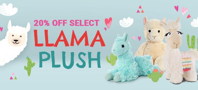 20% off select Llama Plush!