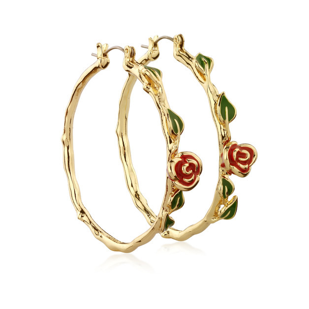 Couture Kingdom: Disney Beauty and the Beast Rose Hoop Earrings - Yellow Gold