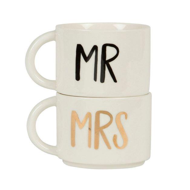 Mr & Mrs Stacking Mugs (Set Of 2)