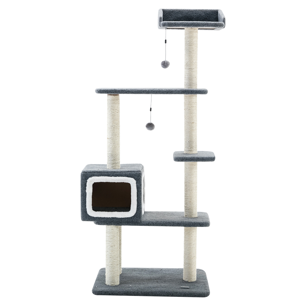 Cat Tree House 1.3M 5 Levels with Snuggle Cube - Blue / White image