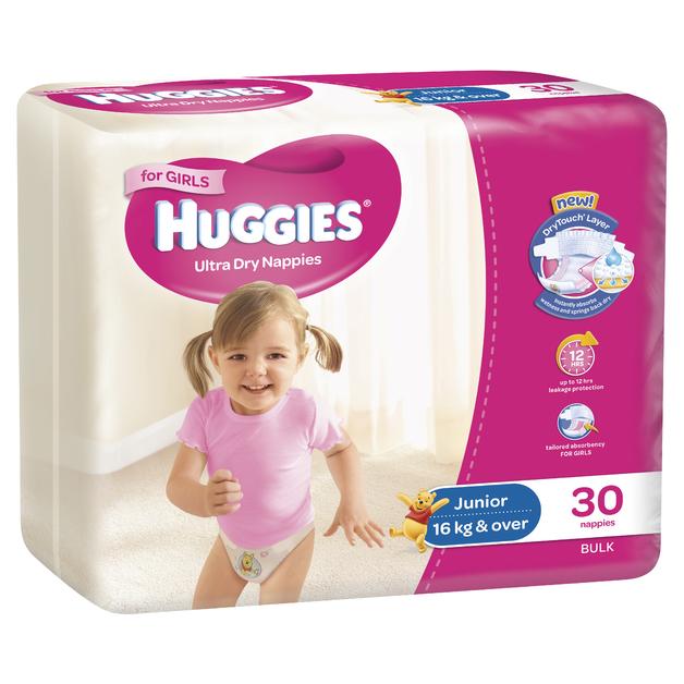 Huggies Ultra Dry Nappies Bulk - Junior Girl 16+kg (30)