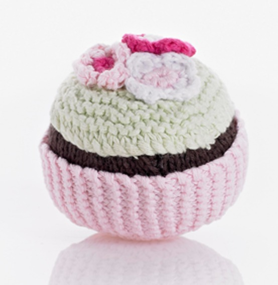 Pebble Cupcake Rattle - Pale Pink