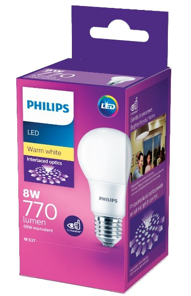 Philips: LED Bulb 8W E27 3000K