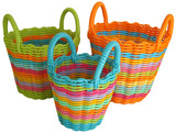 Set of 3 Round Storage Baskets (With Handles)