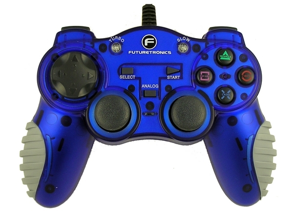 Futuretronics Dual Shock Controller - Blue for PlayStation 2