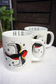Sourpuss His & Hers Mug Set - Swallows Retro Tattoo