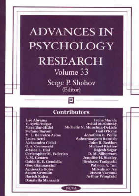 Advances in Psychology Research by Serge P. Shohov
