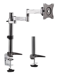 BRATECK: 13'-27' Monitor desk mount.Rotate, extend, tilt and swivel.Supports VESA 75x75 & 100x100.Max load: 8Kgs.