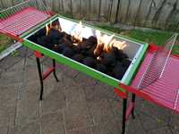 Portable BBQ Charcoal Grill with Folding Legs/Side Shelves