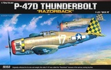 "Academy P-47D T/Bolt ""Razor Back"" 1/72 Model Kit"