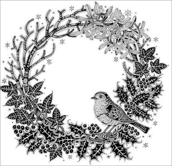 Canns Down Press: Boxed Christmas Cards - Black & White Christmas Wreath image