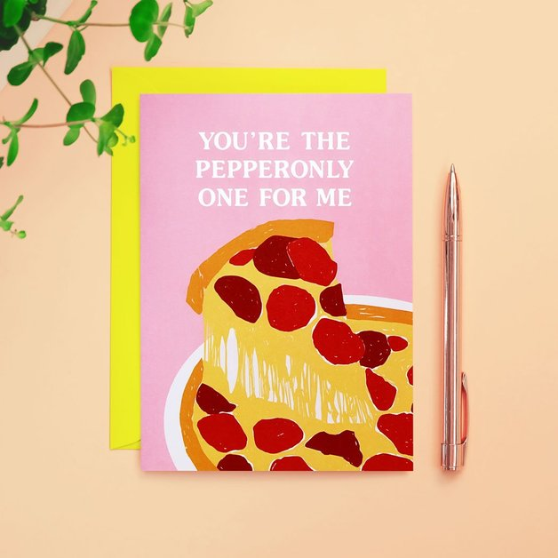 90s Kid: You're the Pepperonly One For Me Anniversary Love Card