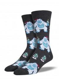 Mens Xmas Yeti Crew Socks - Charcoal